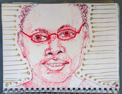 Portrait of Margaret Ogunniyi, oil paint marker and China marker in 9x12 sketchbook