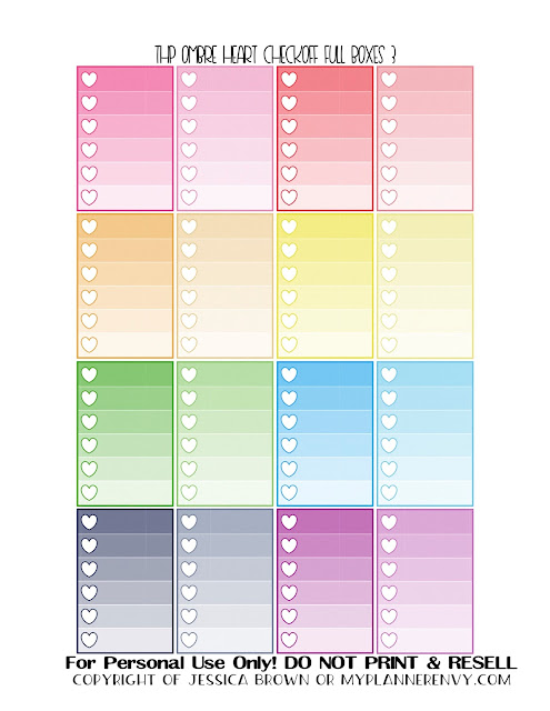Free Printable Ombre Heart Checkoff Full Boxes 3 of 3 for the Happy Planner from myplannerenvy.com