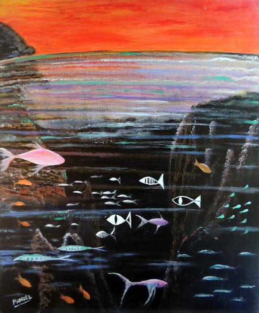 Obra de arte en venta Manuel Carmona: pintura peces
