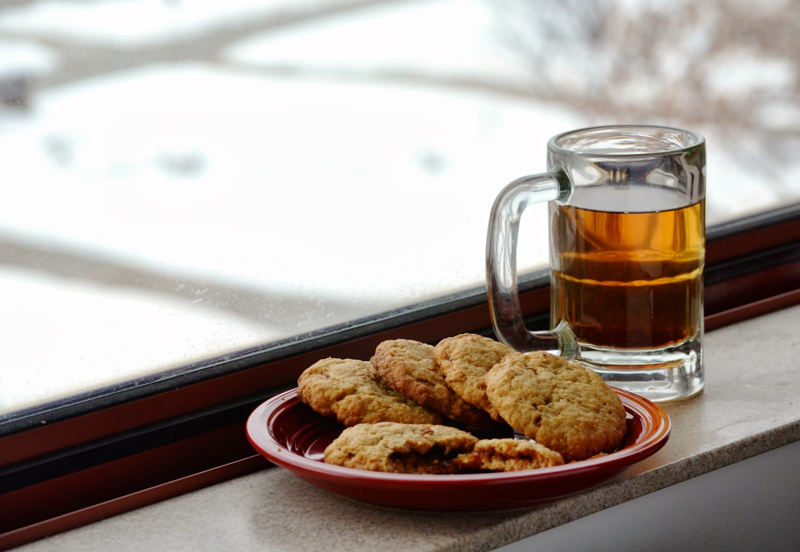 Apple Cider Caramel Cookies snow day