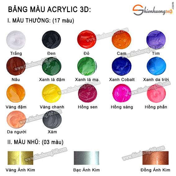 Bảng màu ACRYLIC 5D có đủ tất cả các màu cho các bạn thoải mái lựa chọn