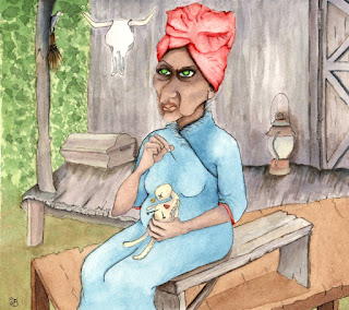 Voodoo Julia Brown Priestess in the Bayou Watercolor Painting Illustration