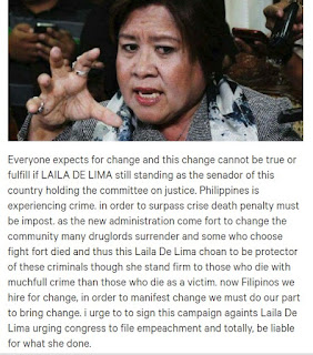 Online Petition To Remove Leila De Lima as Senator
