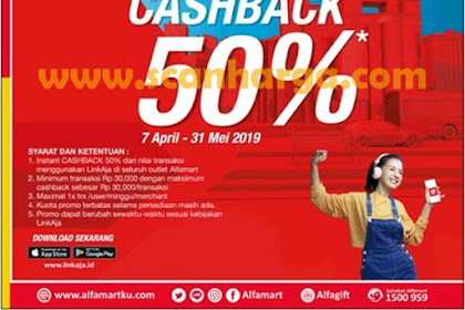 Promo Alfamart Pake Linkaja Cashback 50% 7 April - 31 Mei 2019