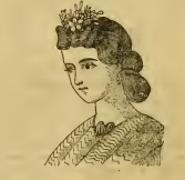 Woman with waterfall hairstyle, from Godey's, July 1863