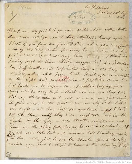 Lettre autographe de Nancy Storace adressée à John Pritt Harley (c) Bibliothèque nationale de France / Gallica