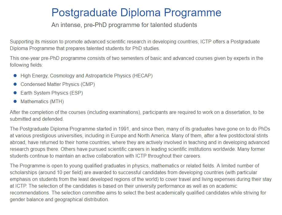 ICTP Postgraduate Diploma Scholarship for International Students in Italy