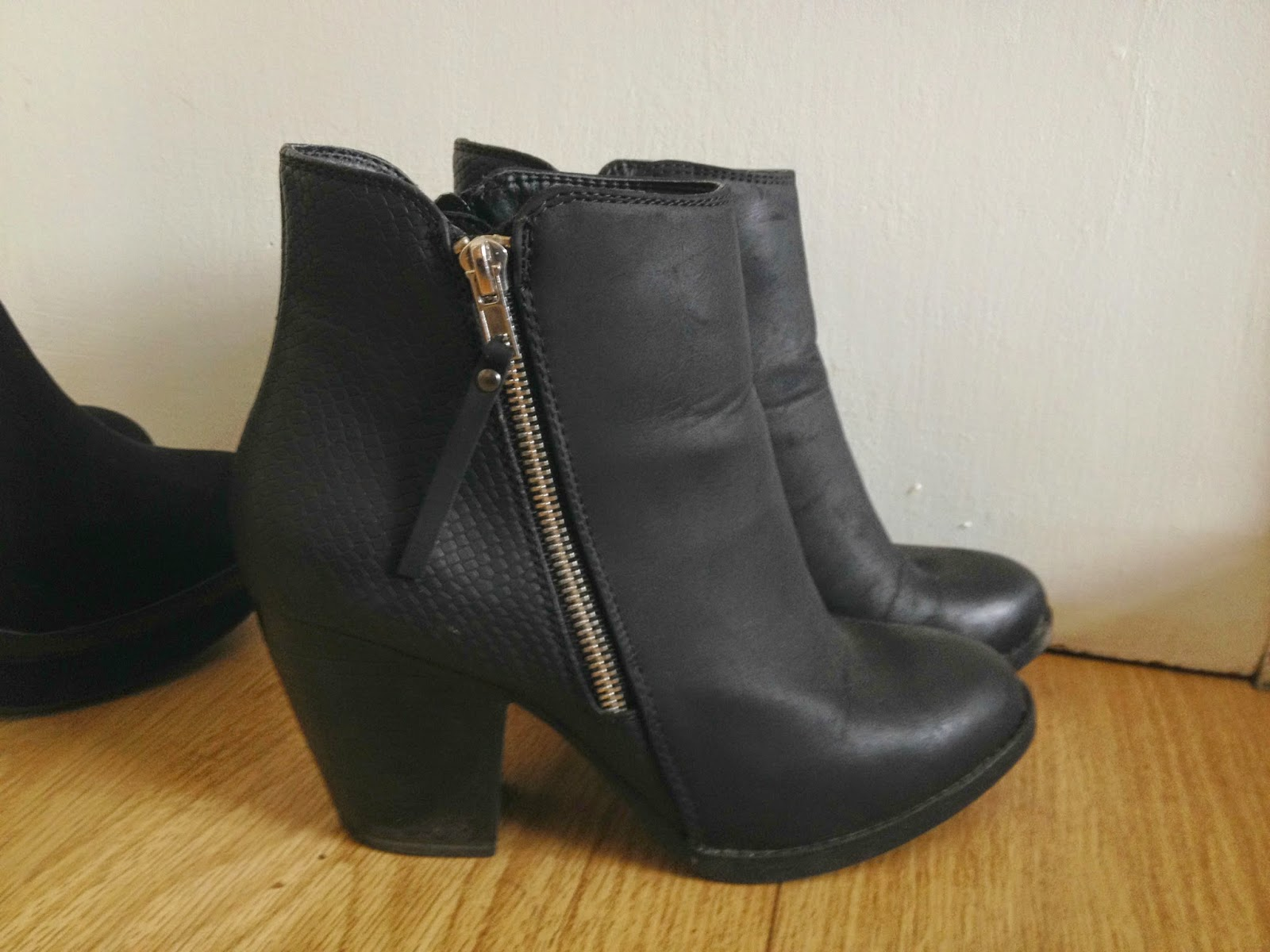 Primark Snakeskin Leather Autumn Winter Heeled Boots