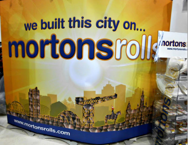 Morton's rolls stand illustrated with Glasgow landmarks