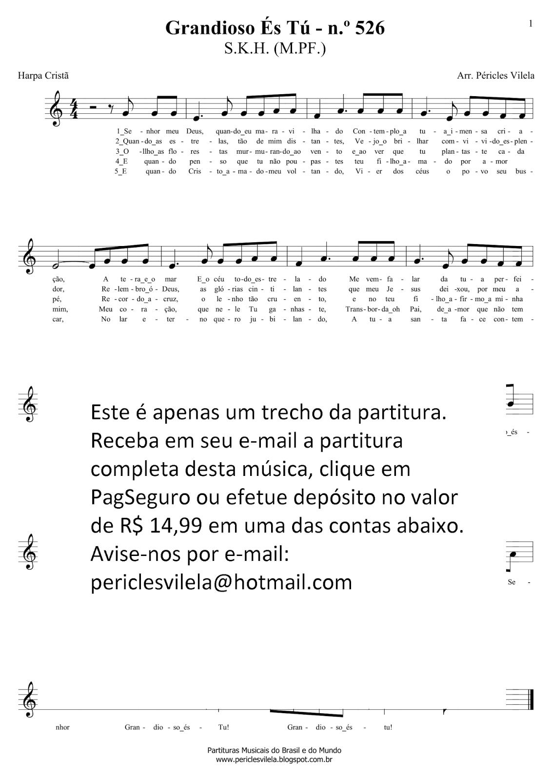 Partituras Musicais: Grandioso és tu - Larissa Manoela - Harpa Cristã - n.º  109