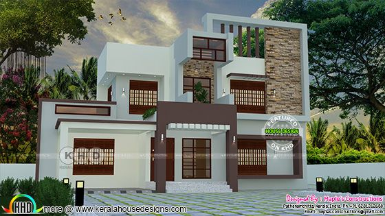 2067 square feet box model modern flat roof Kerala house design
