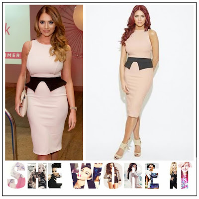 Amy Childs, Amy Childs Collection, Back Detail, Black, Bodycon, Celebrity Fashion, Colour Block, Contrast, Dress, Panels, Pencil Dress, Peplum, Sleeveless, V Back, Waist Detail,