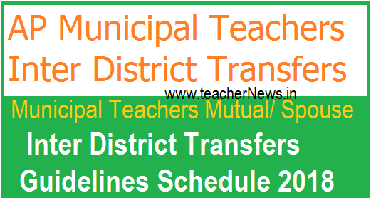 AP Municipal Teachers Mutual/ Spouse Inter District Transfers Guidelines Schedule 2018