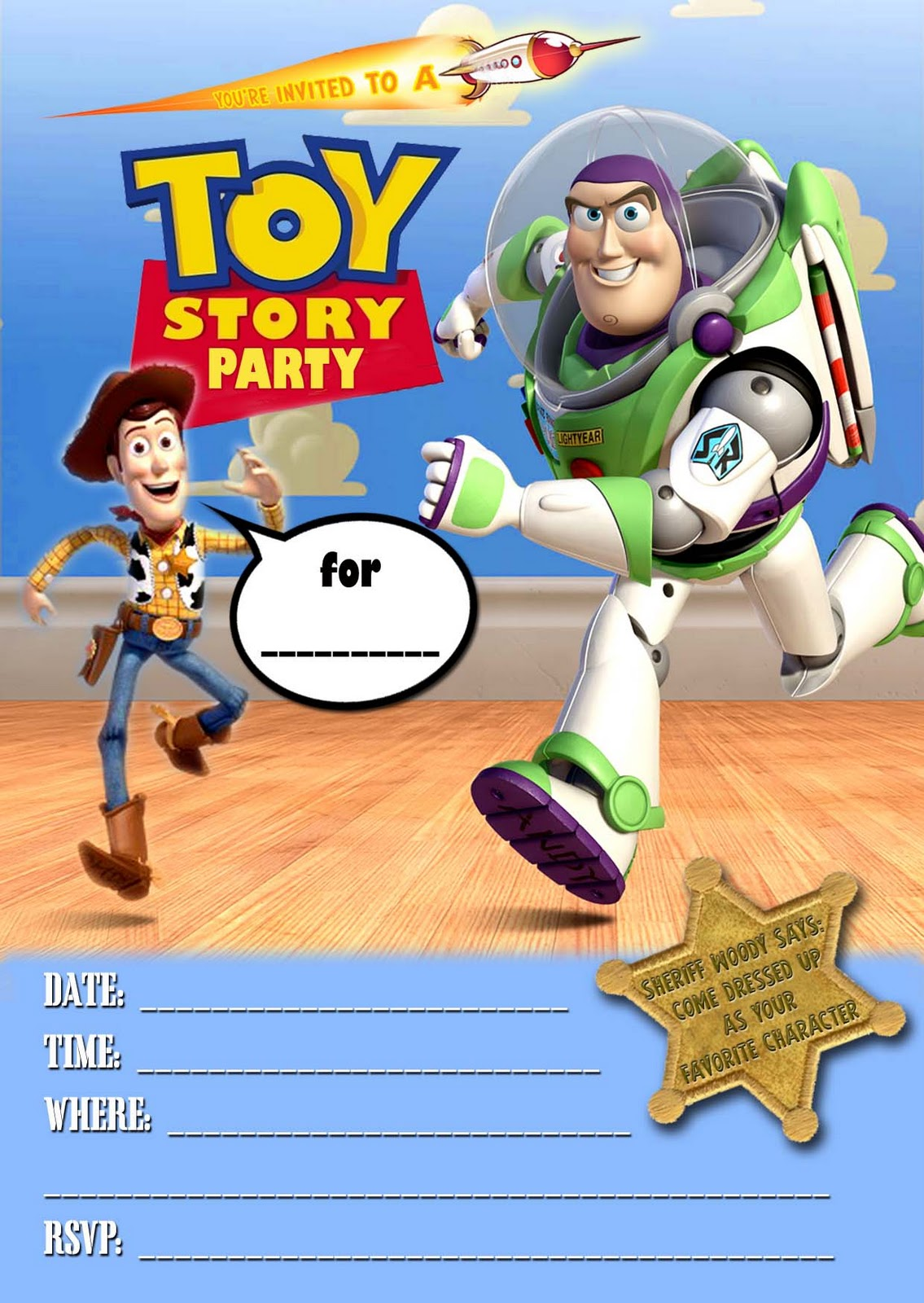 Free kids party invitations toy story party invitation for Toy story invites templates free