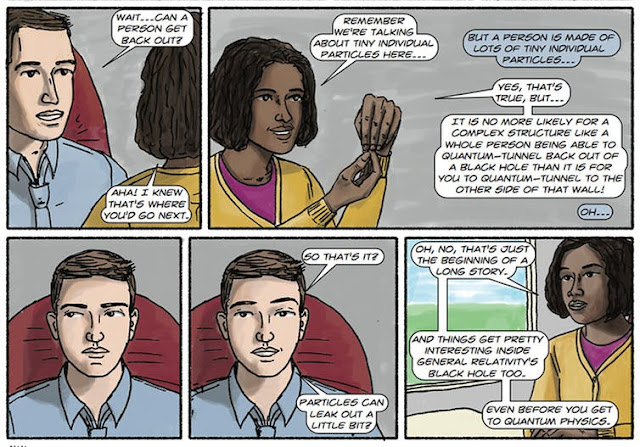 Panels from 'The Dialogues,' including a black female scientist.