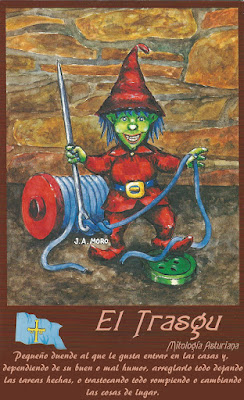 Postal mitología asturiana. Ed. Moro. Trasgu