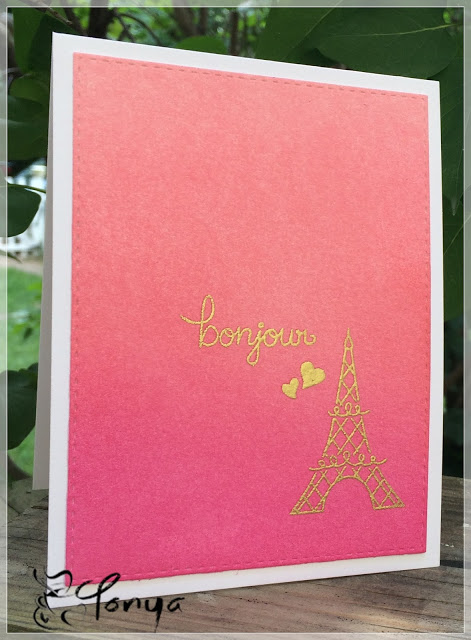 Bonjour Paris ombre card by Tonya | Newton Dreams of Paris stamp set by Newton's Nook Designs #newtonsnook
