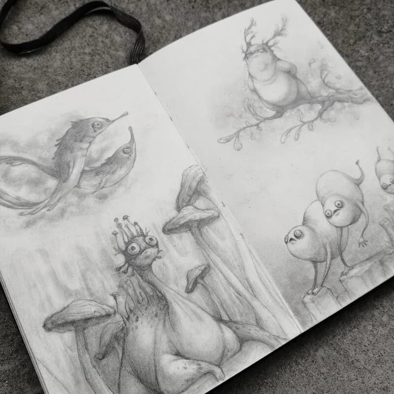 05-Stella-Bialek-Moleskine-Fantasy-Creatures-Drawings-www-designstack-co