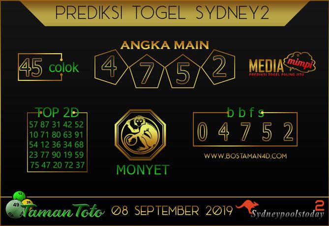 Prediksi Togel SYDNEY 2 TAMAN TOTO 08 SEPTEMBER 2019