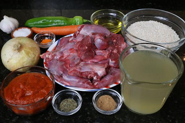 Ingredientes para conejo de campo con arroz