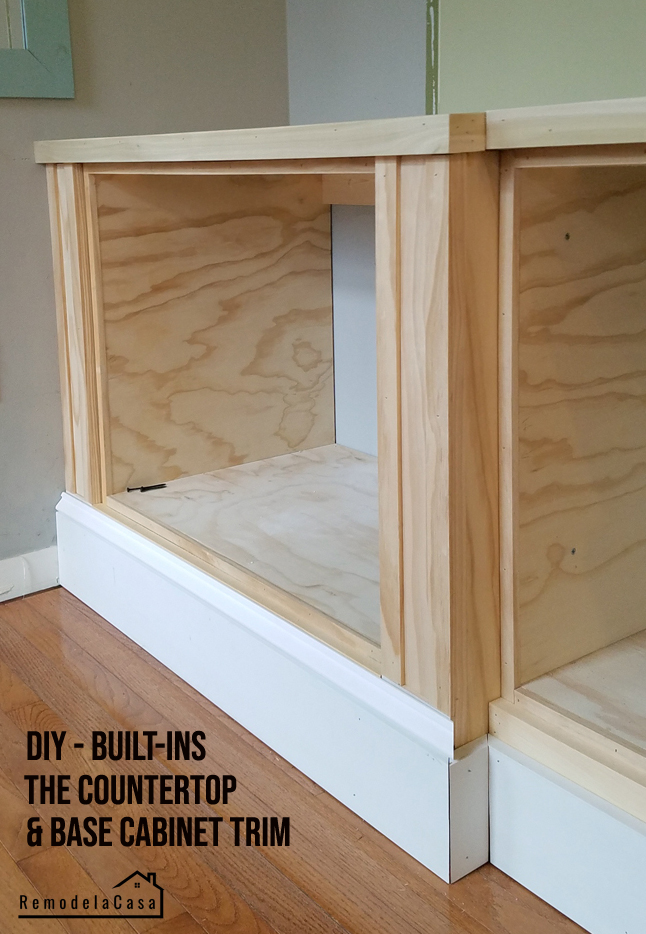 how to build base cabinets for a wall of built-in s with wooden counter