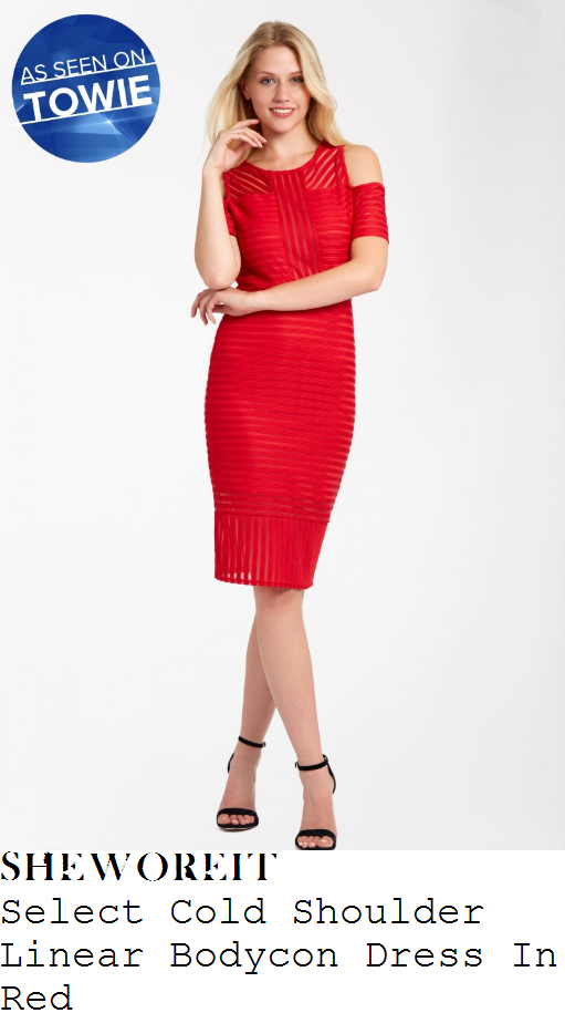 danielle-armstrong-select-bright-cherry-red-semi-sheer-mixed-stripe-pattern-short-sleeve-cold-shoulder-detail-bodycon-midi-dress