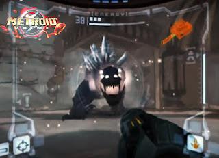 Captura de pantalla de GameCube en la que podemos ver a uno de los jefes de Metroid Prime, Sheegoth, una especie de dinosaurio galáctico