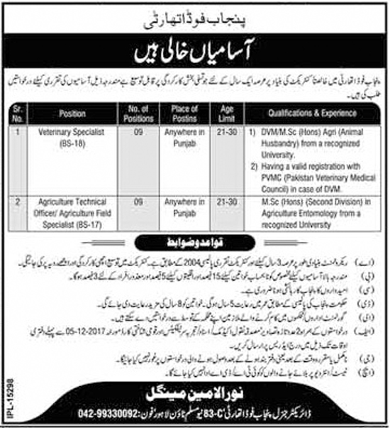Jobs in Punjab Food Authority Lahore 22 Nov 2017.
