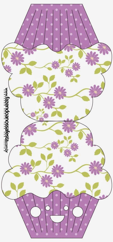 Tarjeta con forma de Cupcake de Flores Moradas.