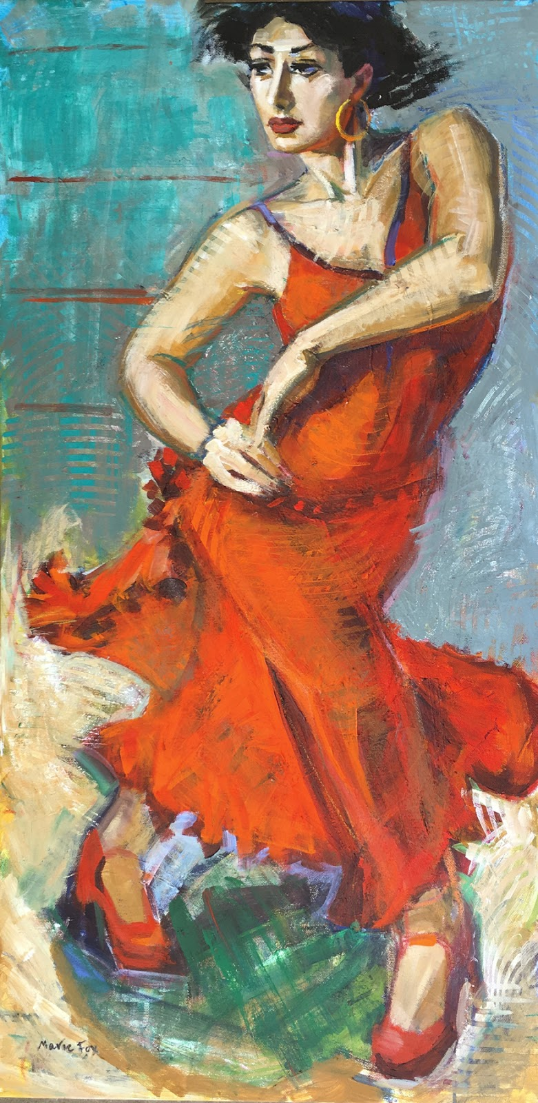spanish dancer figurative woman dancing red dress contemporary