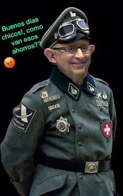 Montoro con un uniforme tipo SS pero con insignias del PP, Santander, Iberdrola ...