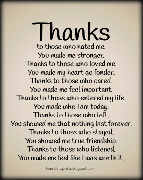 My Special Thanks Heartfelt Love And Life Quotes