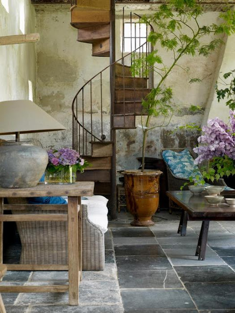 "The charming, rustic orangerie on the Garnier estate ""Vaucellesof"", image via Garnier (be) website as seen on linenandlavender.net"