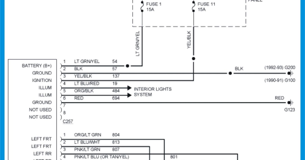 Ford Ranger Wiring Diagrams 1990 1992 Ford Ranger Radio Wiring Diagram