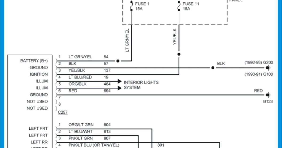 19901992 Ford Ranger Radio Wiring Diagram | Schematic