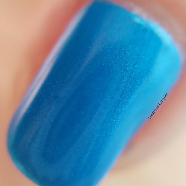 Aqua blue nail polish with turquoise micro shimmer