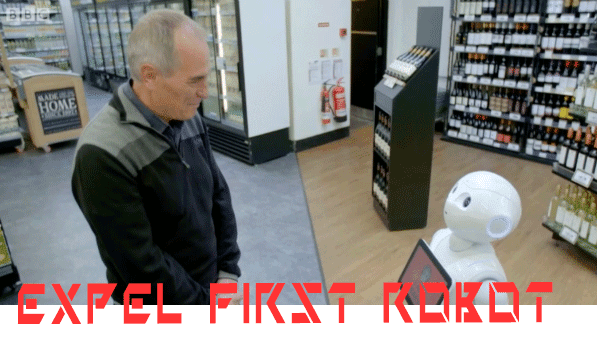 Expel first robot works as an employee in the marketCommercial!