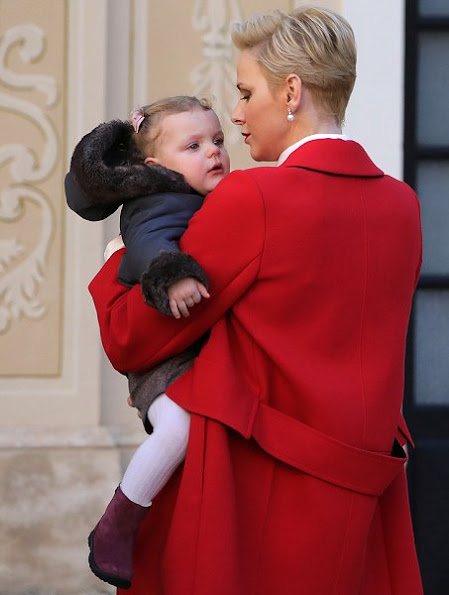 Prince Jacques and Princess Gabriella Princess Charlene wore Carolina Herrera Pleated Button-Front Blouse, Jimmy Choo flat, Christian Dior Earrings