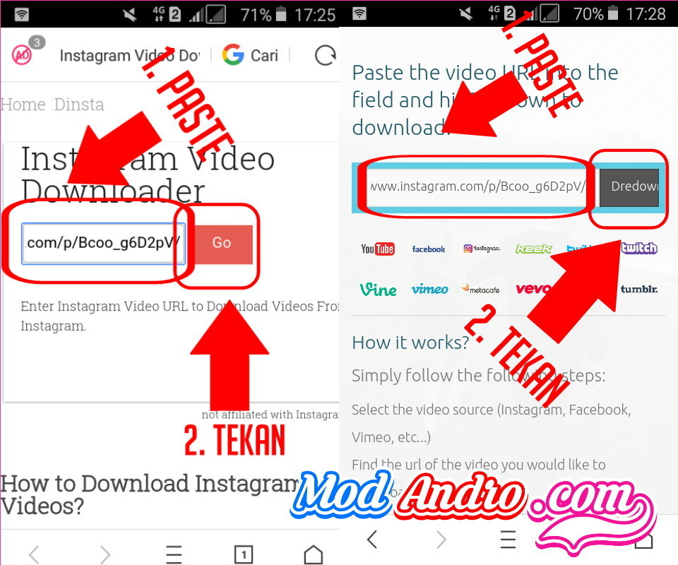 cara download  video instagram lewat dredown w3toys