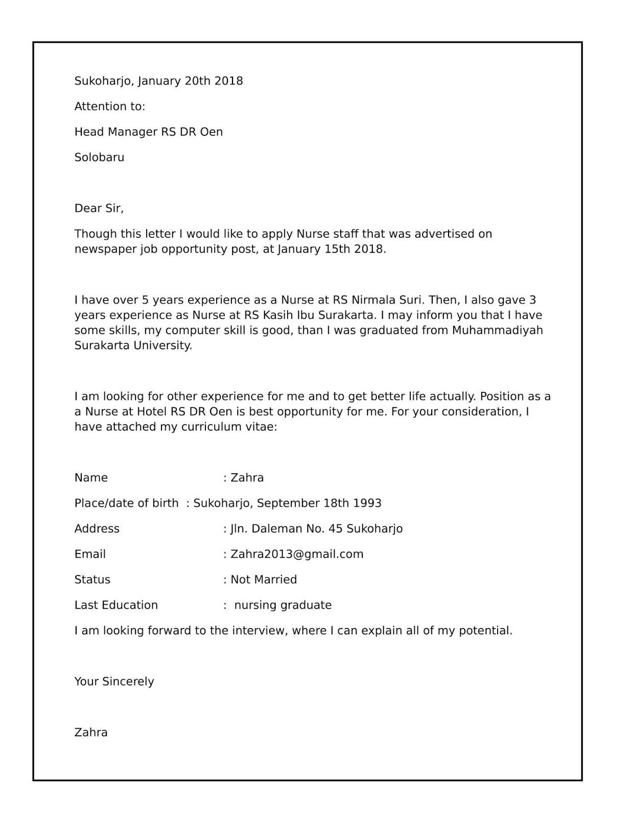 Contoh Surat Lamaran Bidan Ke Rumah Sakit Contoh Seputar Surat