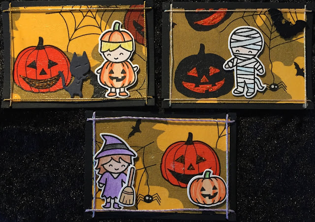 Lawn Fawn Halloween ATC's (Artist Trading Cards) pumpkin, mummy and witch