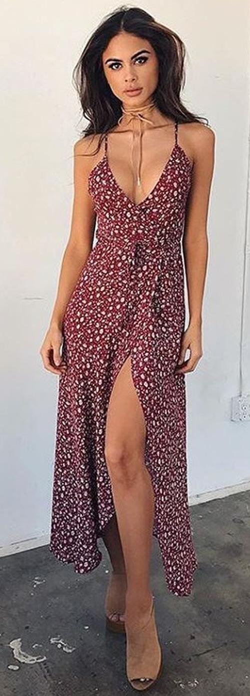 wine printed dress