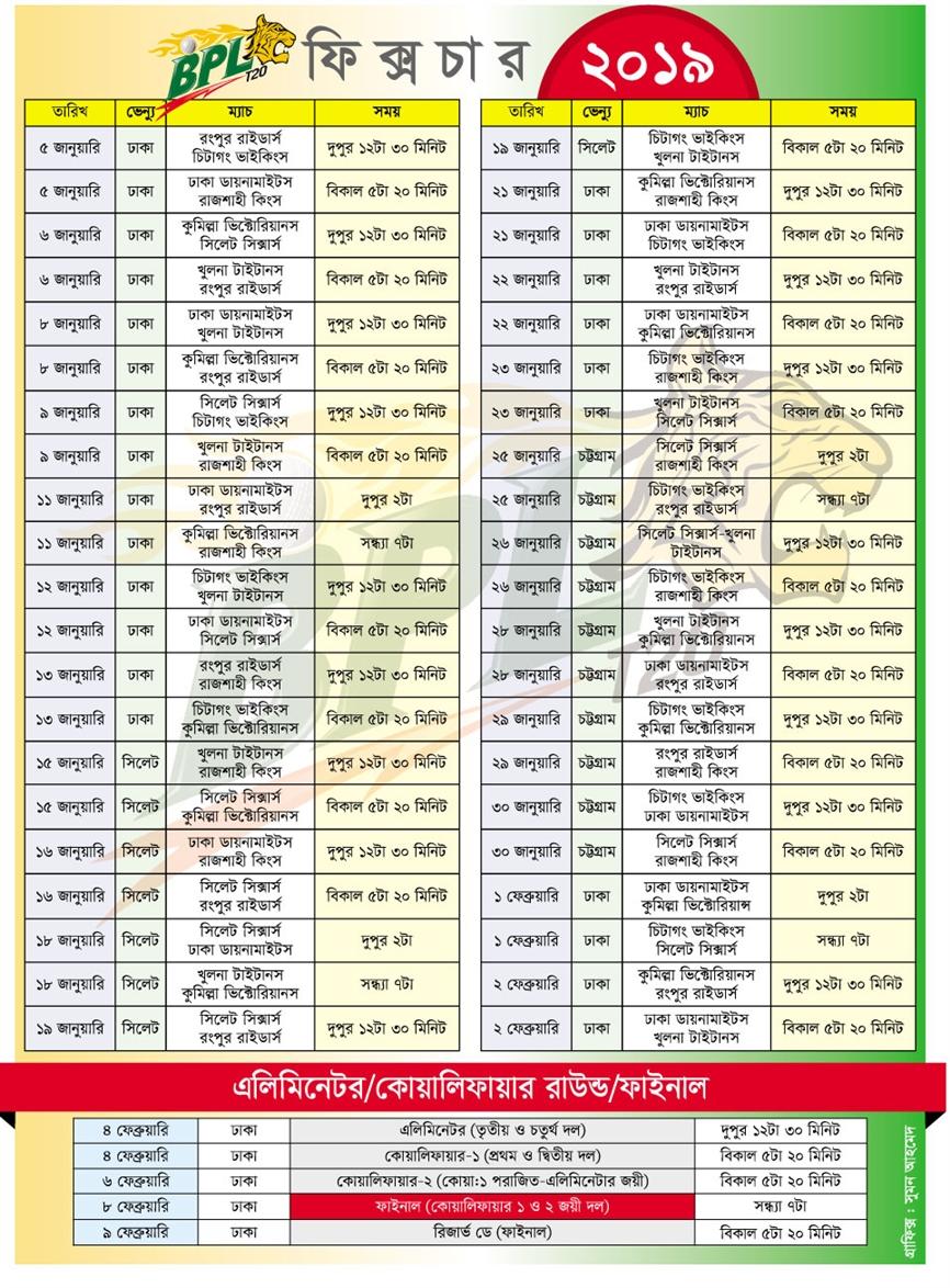 Bangladesh Premier League (BPL) 6th edition  T20 2018-19 Time Table