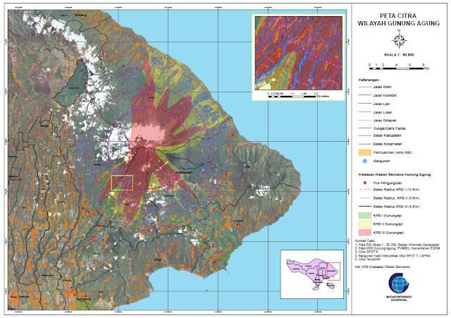 peta wilayah bencana gunung agung