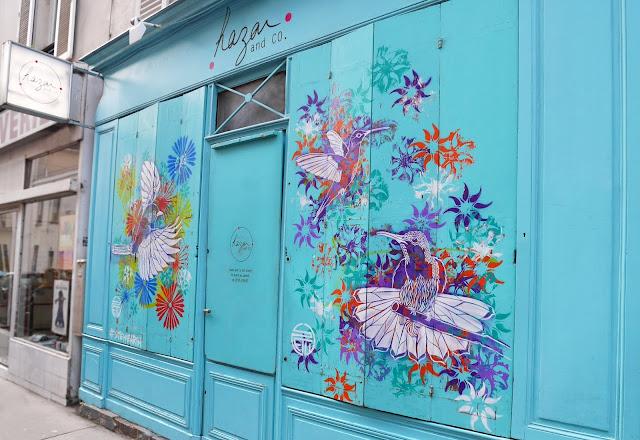 hazar and co boutique créatrices créateurs pernety paris 14 rue du chateau création street art stew pochoir oiseaux couleur