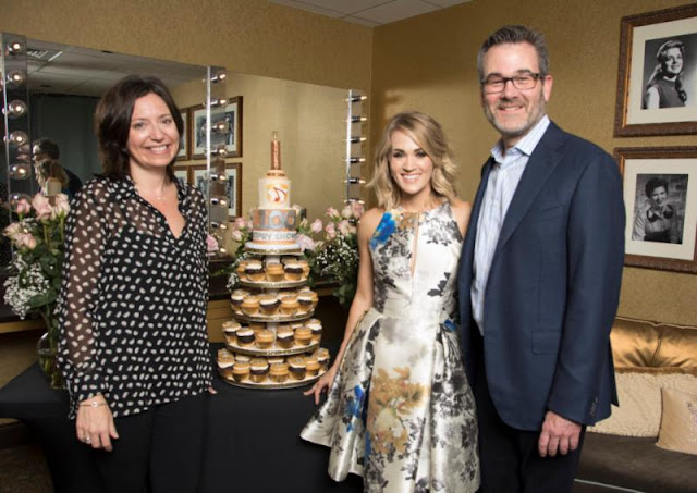 Carrie Underwood Backstage in Randi Rahm Cocktail Dress