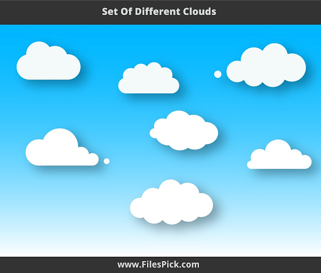 white clouds vector collection