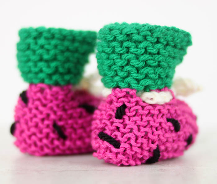 EASY Watermelon Baby Booties Free Knitting Pattern - Gina Michele