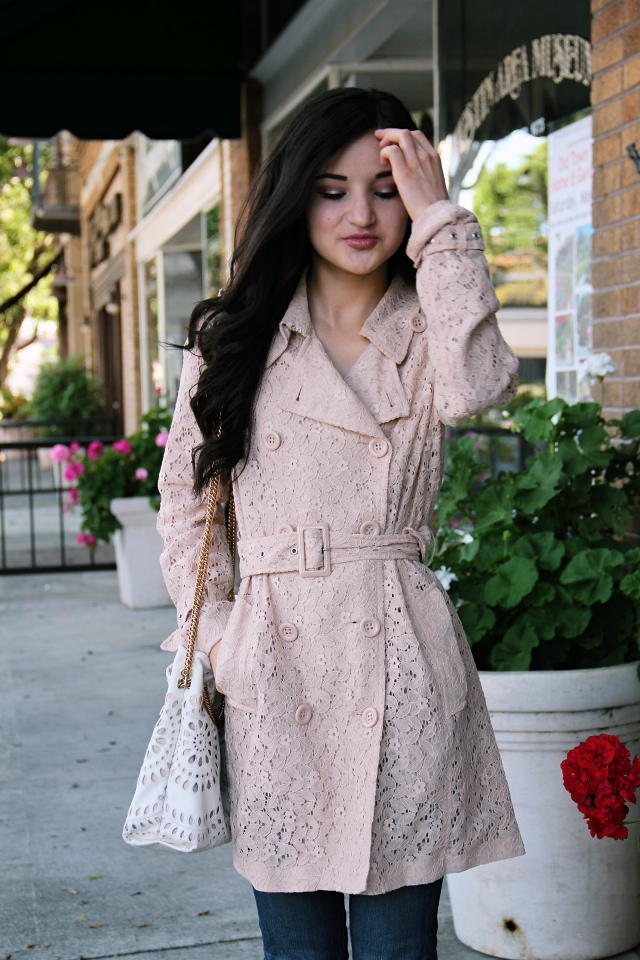 blush pink lace trench coat burberry duper piperlime outfit spring