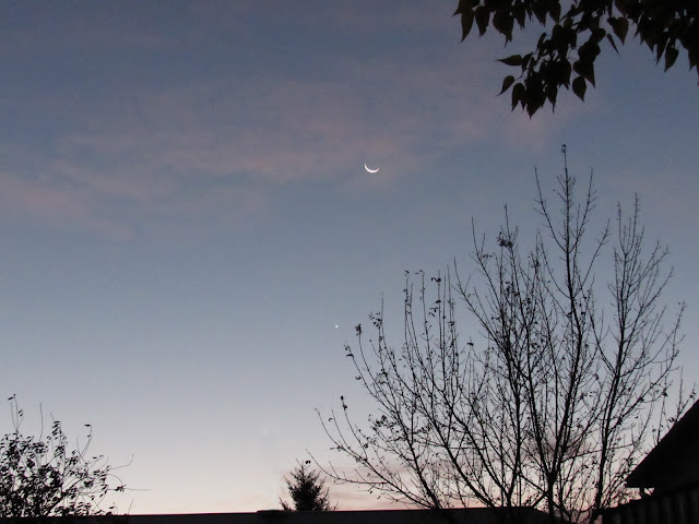crescent moon and Venus taken on a clear October morning